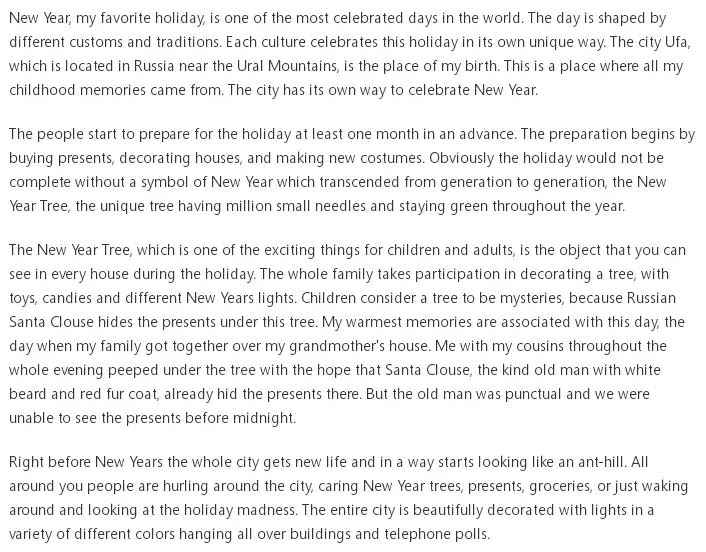 essay about christmas holiday As christmas is a big festival it is important that everyone knows the story of it especially children in every school, a competition is organized in which we have also covered the story of santa claus in these merry christmas essay 2017 as the holiday season is just going to begin in the schools.