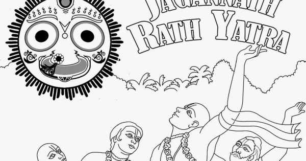 Rath yatra line drawing