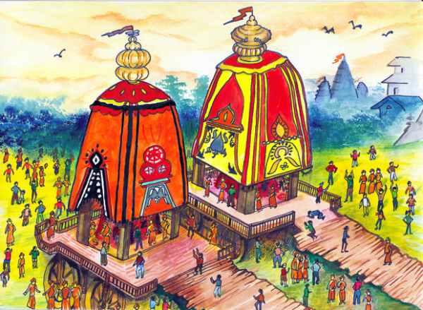 Ratha yatra drawing