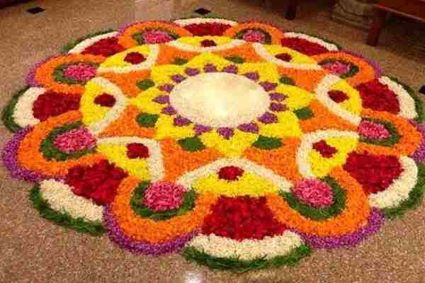 simple onam rangoli designs with flowers
