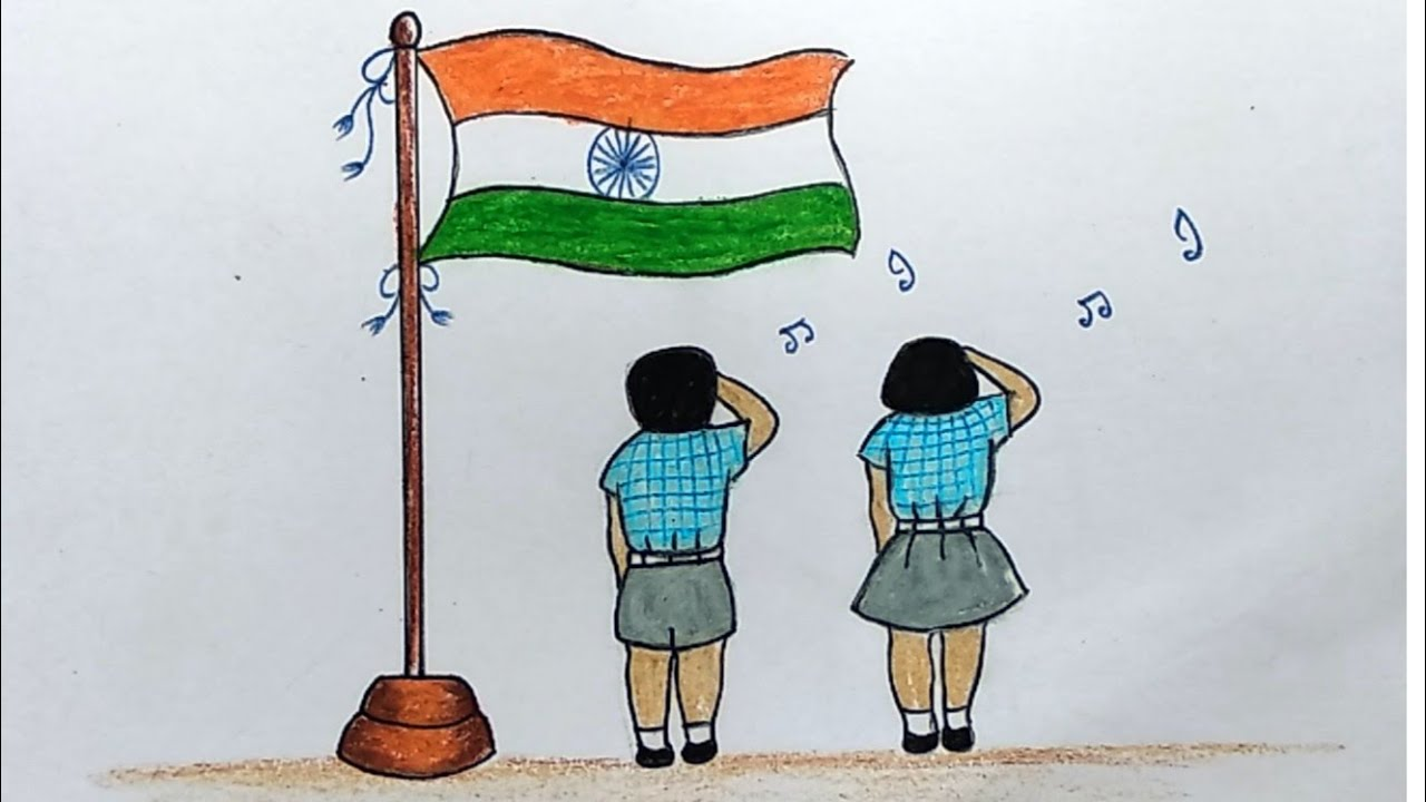 Indian flag day drawing for students