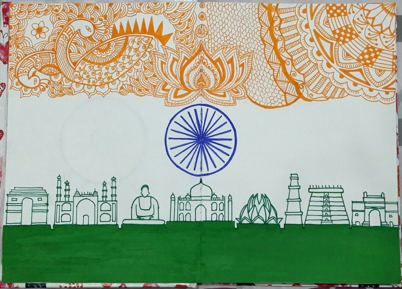 Indian flag day drawing hd