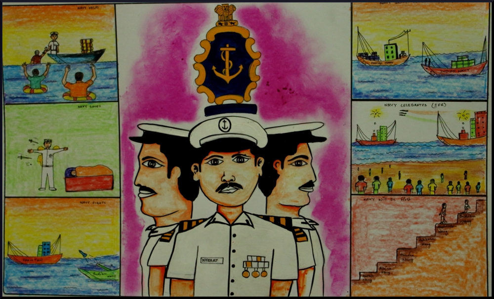 Indian navy day drawing for students