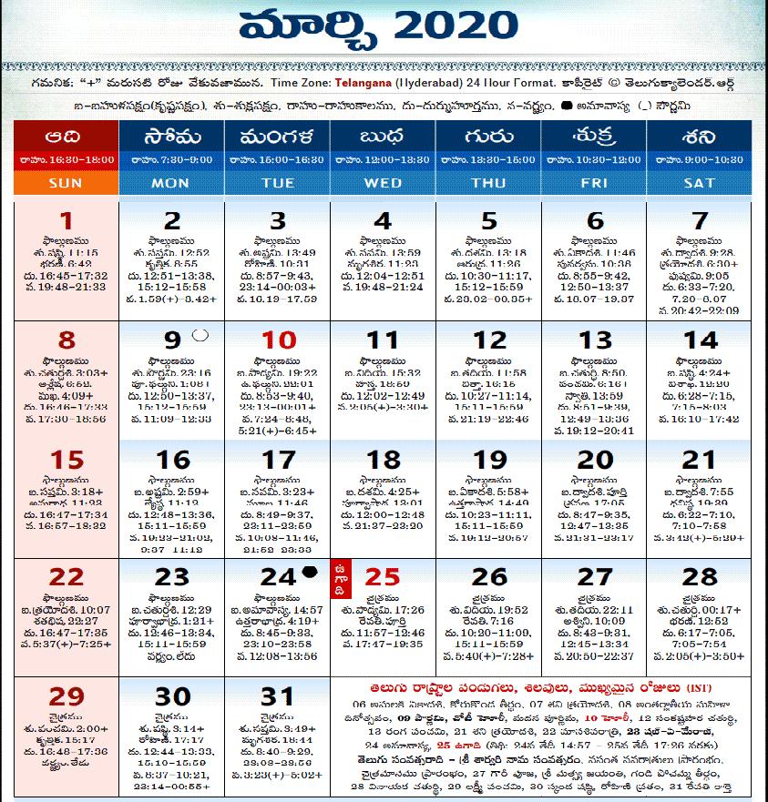 Telugu Calendar 2020 Download Pdf Panchangam తెలుగు