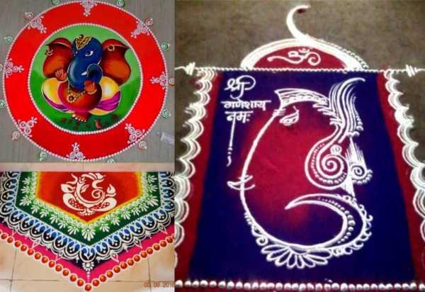 Easy ganpati rangoli designs