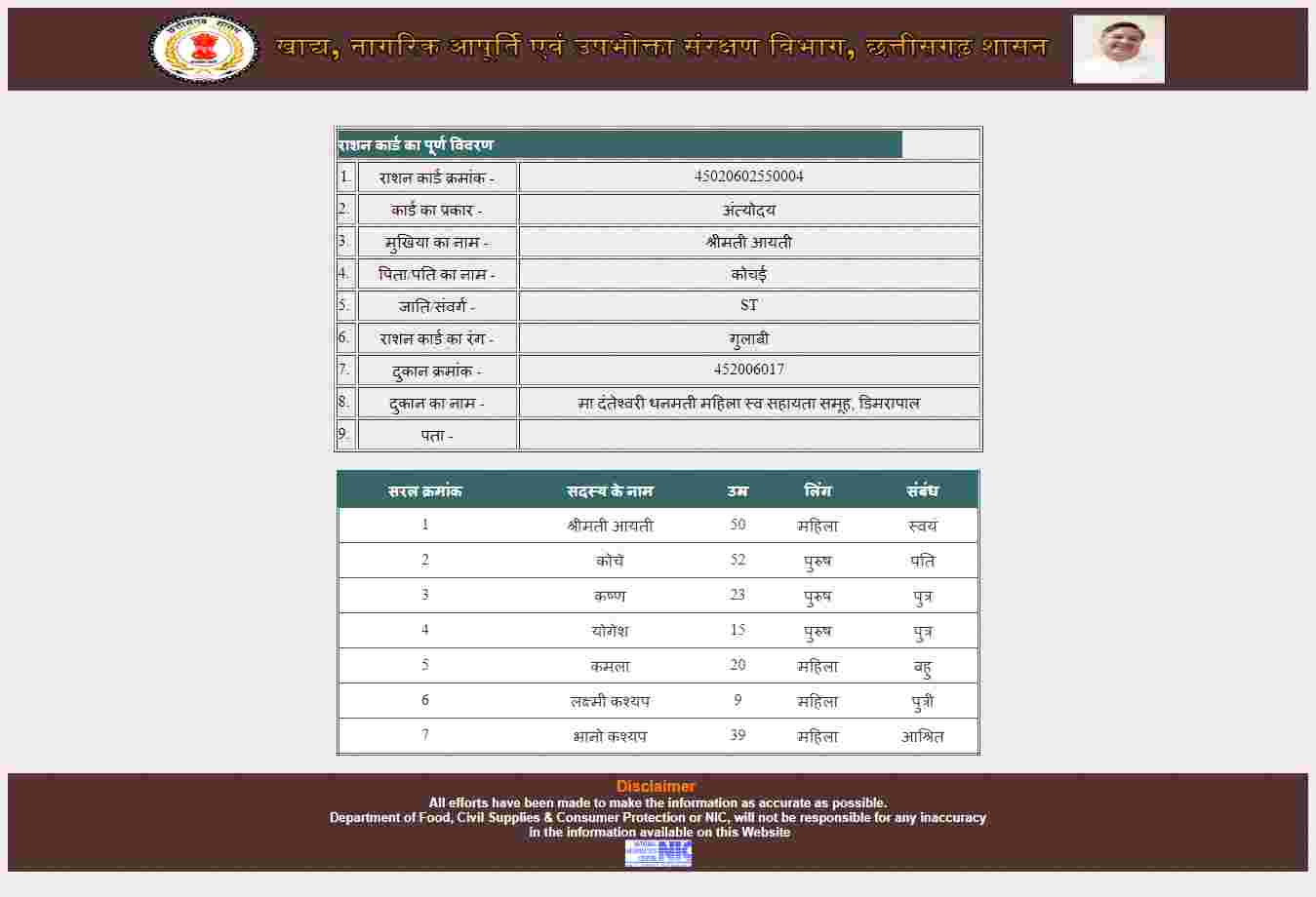 Cg ration card list name wise 4