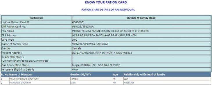 Goa Ration Card List Download Online 4