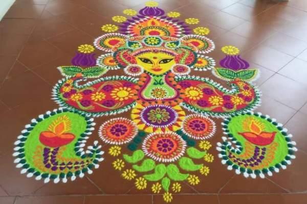 नवरात्री रंगोली की डिजाइन 1