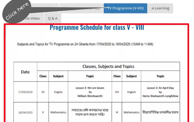 banglar shiksha portal program schedule5to7