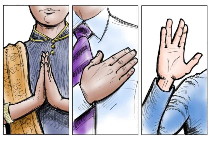हाथ मिलाने के बजाय, अभिवादन के दूसरे तरीक़े