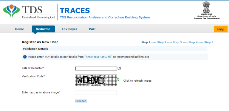 TRACES Deductor Registration