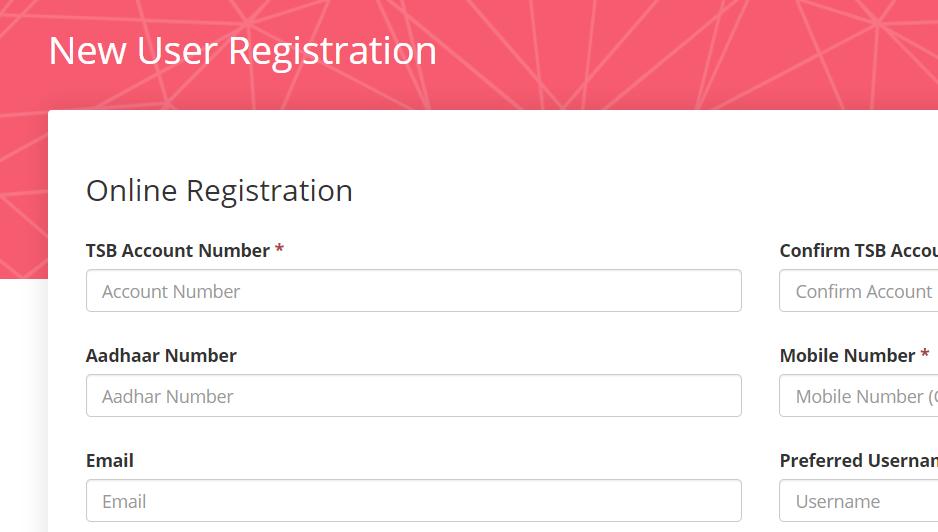 TSB Online registration Login