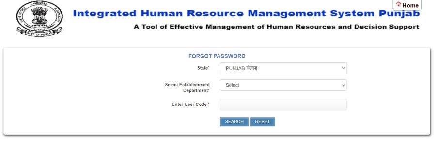 ihrms punjab Forgot Password