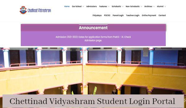 Chettinad Vidyashram Student Login Portal
