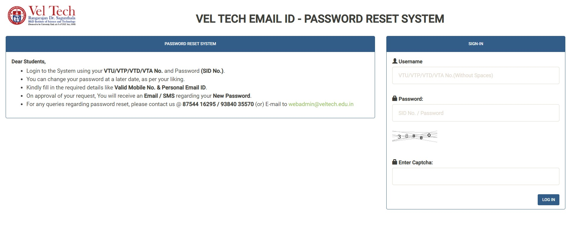 Vel Tech email id password reset