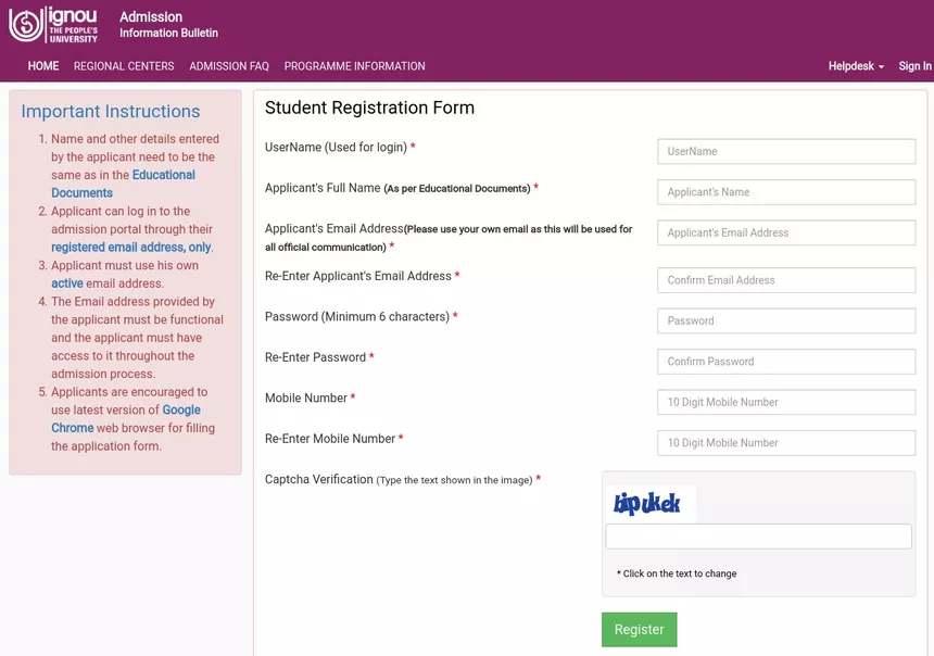 ignou registration