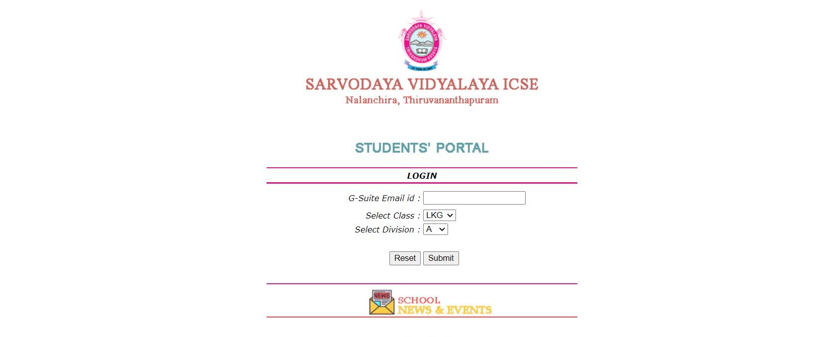 Sarvodaya Student portal sign in