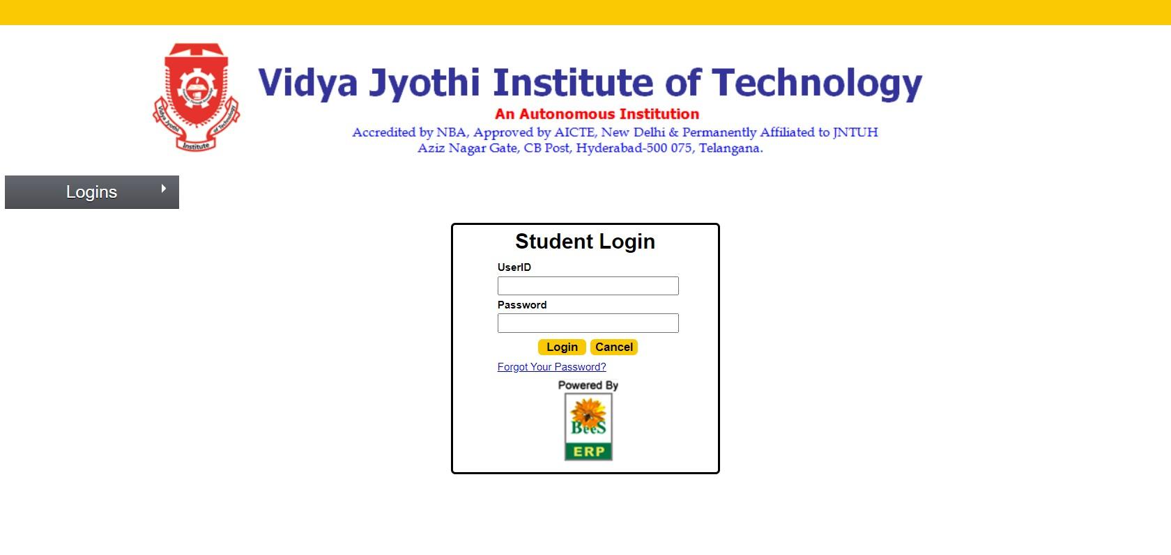 vjit.ac.in student login